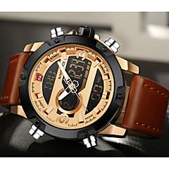 NAVIFORCE Муж. Спортивные часы Нарядные часы Модные часы Кварцевый Цифровой LCD Календарь Защита от влаги С двумя часовыми поясами