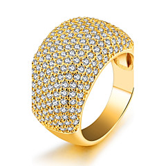 preiswerte Ringe-Damen Kubikzirkonia Bandring - Zirkon, vergoldet Erklärung, Luxus, Modisch 6 / 7 / 8 / 9 Gold Für Party Geburtstag Geschenk