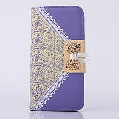 Недорогие Кейсы для iPhone-Случай для яблока iphone 6s плюс iphone 6 плюс кошелек крышки с подставкой flip полный корпус кейс бабочка кружево печать твердая кожа pu