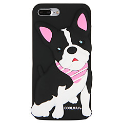 Недорогие Кейсы для iPhone 6 Plus-Кейс для Назначение Apple iPhone 7 Plus iPhone 7 С узором Кейс на заднюю панель С собакой Слова / выражения 3D в мультяшном стиле Мягкий