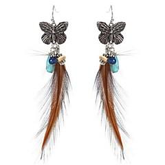 preiswerte Ohrringe-Damen Tropfen-Ohrringe - Schmetterling, Feder Retro, Böhmische, überdimensional Kaffee Für Festtage / Ausgehen / Festival