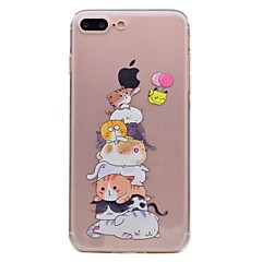 Недорогие Кейсы для iPhone 5-Кейс для Назначение Apple iPhone 7 / iPhone 7 Plus Прозрачный / С узором Кейс на заднюю панель Кот Мягкий ТПУ для iPhone 7 Plus / iPhone 7 / iPhone 6s Plus