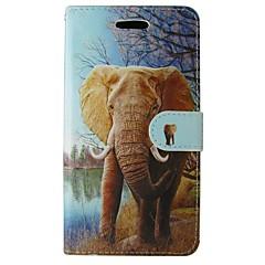 Недорогие Кейсы для iPhone 5-Кейс для Назначение Apple iPhone 7 Plus iPhone 7 Бумажник для карт Кошелек со стендом Флип С узором Чехол Слон Животное Твердый Кожа PU