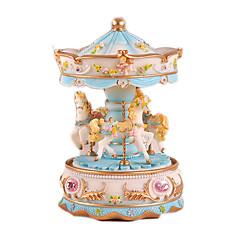 رخيصةأون -الصندوق الموسيقي ألعاب حصان دائري البلاستيك محبوب 1 قطع للأطفال أنثى عيد الحب عيد ميلاد هدية