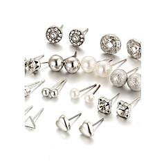 cheap Earrings-Women's Heart Crystal Rhinestone Imitation Pearl Crystal Imitation Pearl Stud Earrings - Bling Bling Elegant Fashion Gold Silver Round