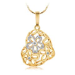 Жен. Ожерелья с подвесками Ожерелья-цепочки Заявление ожерелья Имитация Алмазный В форме сердца В форме цветка маргаритка ПозолотаБазовый
