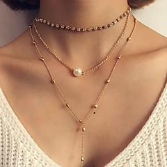 Жен. Слоистые ожерелья Искусственный жемчуг Круглый Овальной формы Круглой формы Геометрической формы Бижутерия Сплав Мода Богемия Стиль