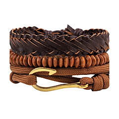 Men's Leather Bracelet Strand Bracelet Wrap Bracelet Handmade Punk Adjustable Personalized DIY Leather Wood Alloy Round Jewelry For Daily