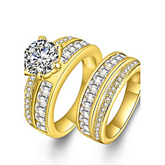 preiswerte Ringe-Paar Kubikzirkonia / Synthetischer Diamant Eheringe - Zirkon, Strass, vergoldet Erklärung, Luxus, Böhmische 6 / 7 / 8 Gold Für Party / Verlobung / Geschenk