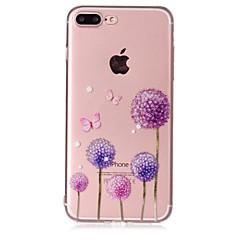 Недорогие Кейсы для iPhone 5-Кейс для Назначение Apple iPhone 7 Plus iPhone 7 Прозрачный С узором Рельефный Кейс на заднюю панель Бабочка одуванчик Мягкий ТПУ для