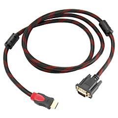 1.5M HDMI إلى VGA مع النوى الفريت مزدوجة لHDTV / 1080P / دي في دي