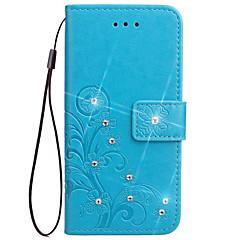 Недорогие Чехлы и кейсы для Sony-Кейс для Назначение Sony Z5 Sony Z4 Sony Xperia Z3 Sony Xperia Z2 Sony Бумажник для карт Кошелек Стразы со стендом Флип Рельефный Чехол