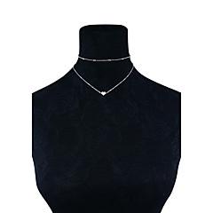 preiswerte Halsketten-Damen Glasperlen Halsketten - Herz Grundlegend Gold, Silber Modische Halsketten Schmuck Für Hochzeit, Party, Geburtstag