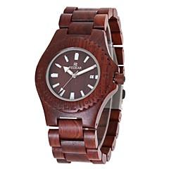 Dames Horloge Hout Japans Kwarts houten Hout Band Amulet Luxe Elegant Rood Bruin