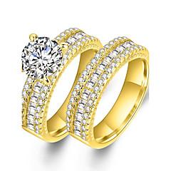 お買い得  指輪-カップル用 キュービックジルコニア 合成ダイヤモンド カップルリング  -  ジルコン, ゴールドメッキ ステートメント, ぜいたく, クラシック 6 / 7 / 8 / 9 ゴールド 用途 結婚式 パーティー 式典