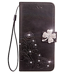 Case For Sony Xperia Z3 Compact Z5 Compact Case Cover Card Holder Wallet Rhinestone with Stand Flip Embossed Full Body Case Flower Hard PU Leather