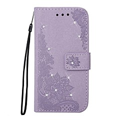 Недорогие Кейсы для iPhone-Кейс для Назначение Apple iPhone 7 Plus iPhone 7 Бумажник для карт Кошелек Стразы со стендом Флип С узором Рельефный Чехол Цветы Сияние и