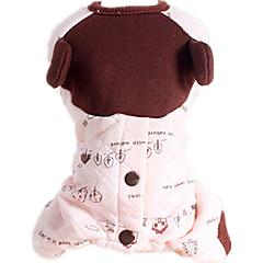 お買い得  犬用ウェア&アクセサリー-犬 ジャンプスーツ 犬用ウェア リーフ柄 ピンク コットン コスチューム ペット用 カジュアル/普段着