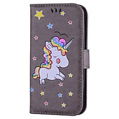 Недорогие Чехлы и кейсы для LG-Кейс для Назначение LG K8 LG LG K10 LG K7 Бумажник для карт со стендом Флип С узором Чехол единорогом Твердый Кожа PU для