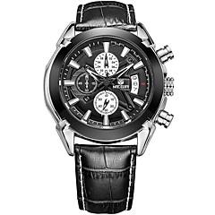 MEGIR Heren Polshorloge Unieke creatieve horloge Vrijetijdshorloge Horloge Hout Sporthorloge Modieus horloge Kwarts Kalender Echt leer