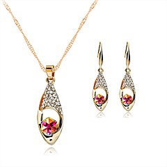 Women's Stud Earrings Pendant Necklaces Crystal Rhinestone Fashion Luxury Crystal Rhinestone Drop Earrings Necklace For Wedding Halloween