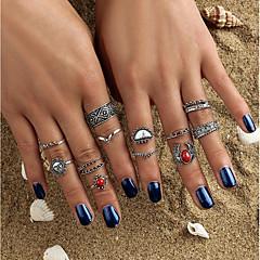 お買い得  指輪-女性用 クリスタル 指輪  -  クリスタル, 合金 サンケア, フラワー ボヘミアンスタイル, ロック, ボヘミアン ワンサイズ シルバー 用途 カジュアル フォーマル