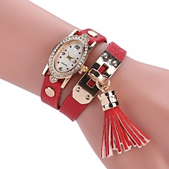 cheap Bracelet Watches-Women's Fashion Watch Bracelet Watch Unique Creative Watch Chinese Quartz Imitation Diamond PU Band Charm Casual Bohemian Elegant Black