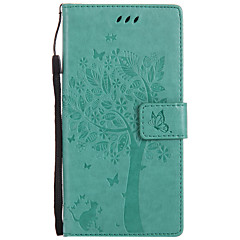 For Case Cover Card Holder Wallet with Stand Flip Embossed Pattern Full Body Case Cat Hard PU Leather for Sony Sony Xperia XZ Sony Xperia