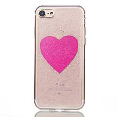 Недорогие Кейсы для iPhone 7 Plus-Кейс для Назначение Apple iPhone 7 Plus iPhone 7 Полупрозрачный С узором Кейс на заднюю панель С сердцем Мягкий Силикон для iPhone 7 Plus