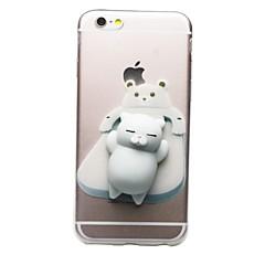 Недорогие Кейсы для iPhone 5-Кейс для Назначение Apple iPhone 7 Plus iPhone 7 Прозрачный С узором болотистый Своими руками Кейс на заднюю панель Кот 3D в мультяшном