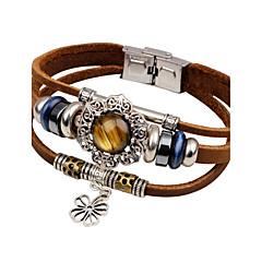 preiswerte Armbänder-Herrn Türkis Lederarmbänder - Leder, Türkis Sonne, Blume Retro, Modisch Armbänder Schwarz / Braun Für Normal / Ausgehen