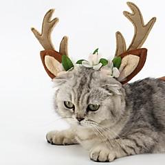 お買い得  犬用ウェア&アクセサリー-ネコ 犬 ヘアアクセサリー 犬用ウェア トナカイ Brown 立ち毛メリヤス生地 コスチューム ペット用 パーティー コスプレ クリスマス