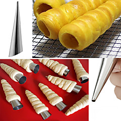 Practical Cone Shape Heat Resisitant Stainless Steel Croissant Maker Diy Danish Spiral Pipe Inclined Tube