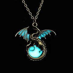 cheap Luminous Jewelry-Luminous Stone Pendant Necklace - Dragon, Wings, Animal Vintage, Punk, Rock Luminous Silver, Bronze, Golden Necklace Jewelry For Party, Halloween, Daily
