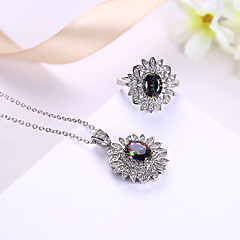 Women's Necklace Ring AAA Cubic Zirconia Luxury Bling Bling Cubic Zirconia Gold Plated Flower Drop Necklace Ring For Wedding Party