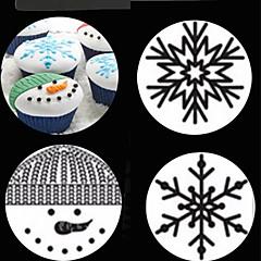 Christmas Snowman Snowflake Plastic Cake Stencil Lace Pad Spray Flower Mold