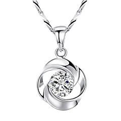Жен. Ожерелья с подвесками Цирконий В форме цветка Роуз Стерлинговое серебро Циркон Базовый дизайн Классика Бижутерия Назначение Свадьба