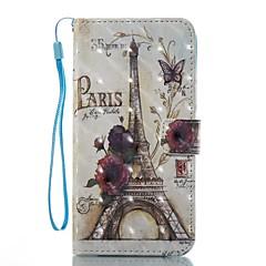 case voor apple iphone 7 plus 7 case cover kaarthouder portemonnee met tribune flip patroon full body case 3d eiffeltoren hard pu leer