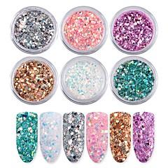 6 väriä nail art iridescence flash jauhe paljetteja 1g / laatikko