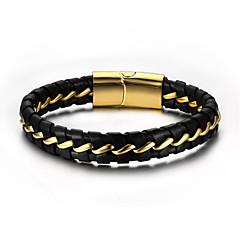 Муж. Кожаные браслеты Rock Хип-хоп Кожа Титановая сталь Круглый Бижутерия Назначение Для вечеринок День рождения