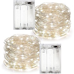 2PCS 10M 100Led 3AAA 4.5V Battery Powered Waterproof Decoration LED Copper Wire  Lights String  for Christmas Festival Wedding Party