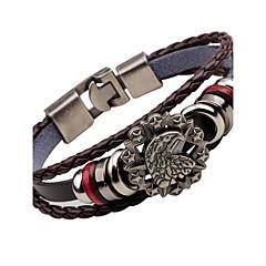 billige Herre Smykker-Herre Læder Armbånd Vintage Mode Rustfrit Stål Legering Eagle Anker Smykker Til Natklub Gade
