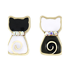 Women's Stud Earrings Jewelry Natural Mismatch Alloy Animal Shape Cat Jewelry For Christmas