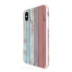 Назначение iPhone X iPhone 8 iPhone 8 Plus Чехлы панели Ультратонкий С узором Задняя крышка Кейс для Имитация дерева Мягкий Термопластик