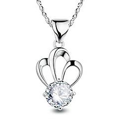 Жен. Ожерелья с подвесками Цирконий Круглой формы В форме короны Стерлинговое серебро Циркон Мода Pоскошные ювелирные изделия Бижутерия