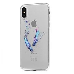 Назначение iPhone X iPhone 8 iPhone 8 Plus Чехлы панели Ультратонкий Прозрачный С узором Задняя крышка Кейс для  Перья Мягкий Термопластик