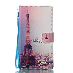 Etui Til Sony Pung Kortholder Med stativ Flip Mønster Magnetisk Heldækkende Eiffeltårnet Hårdt Kunstlæder for Sony Xperia L1