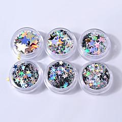 6box أحجام مختلفة من الفضة خمسة وأشار الترتر نجمة الليزر الترتر الملونة زينة الأظافر