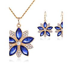 Mujer Pendientes colgantes Collar Cristal Moda Joyería de Lujo Cristal Brillante Forma de Flor Pendientes Collar Para Boda Fiesta Regalos