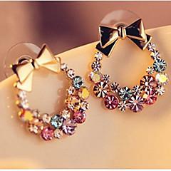 للمرأة أقراط الزر حجر الراين كلاسيكي بلينغ بلينغ حجر الراين سبيكة Bowknot Shape مجوهرات من أجل يوميا ذهاب للخارج